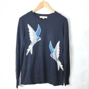 Loft bird print crewneck sweater blue Small